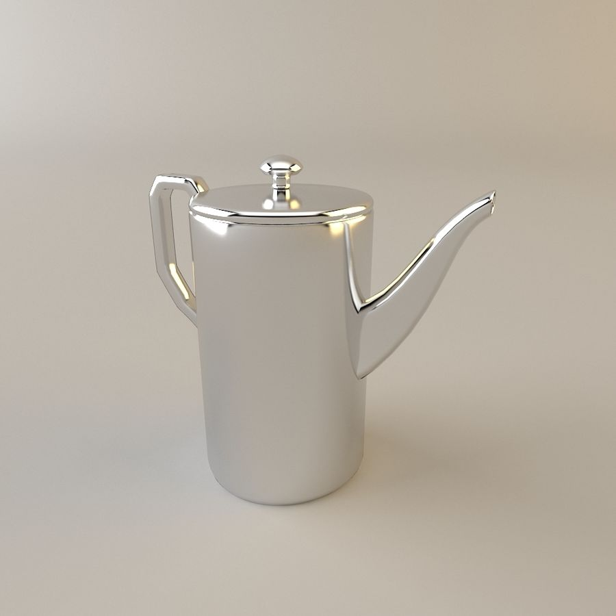Tea Set with Teapot royalty-free 3d model - Preview no. 3