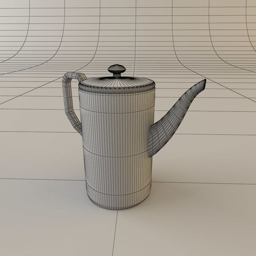 Tea Set with Teapot royalty-free 3d model - Preview no. 4