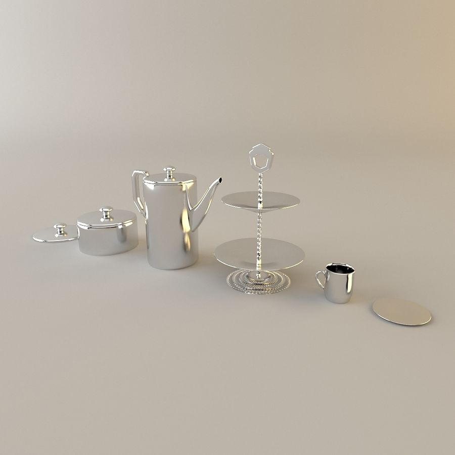 Tea Set with Teapot royalty-free 3d model - Preview no. 1