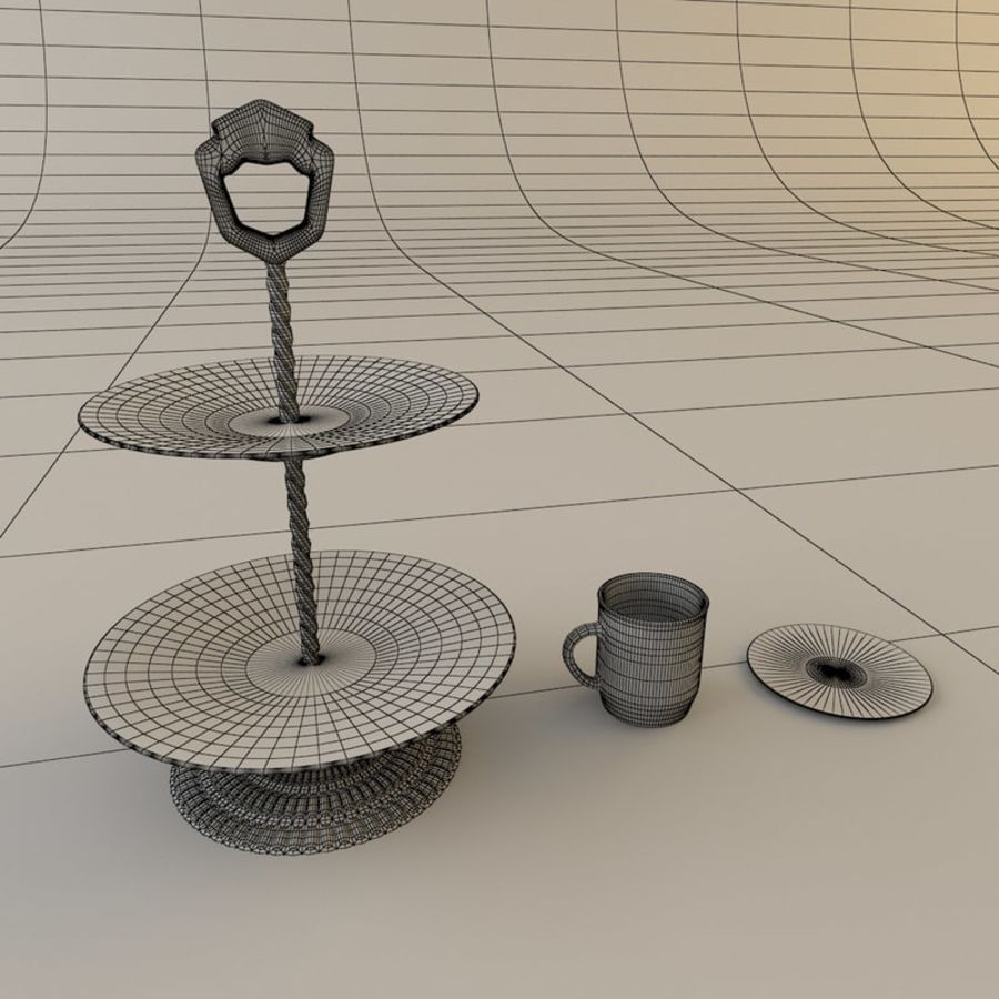 Tea Set with Teapot royalty-free 3d model - Preview no. 8