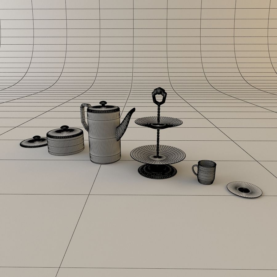 Tea Set with Teapot royalty-free 3d model - Preview no. 2