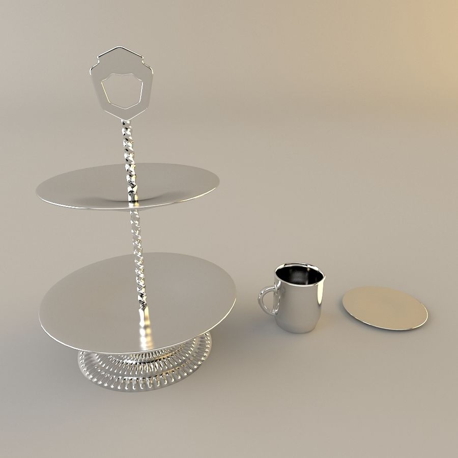 Tea Set with Teapot royalty-free 3d model - Preview no. 7