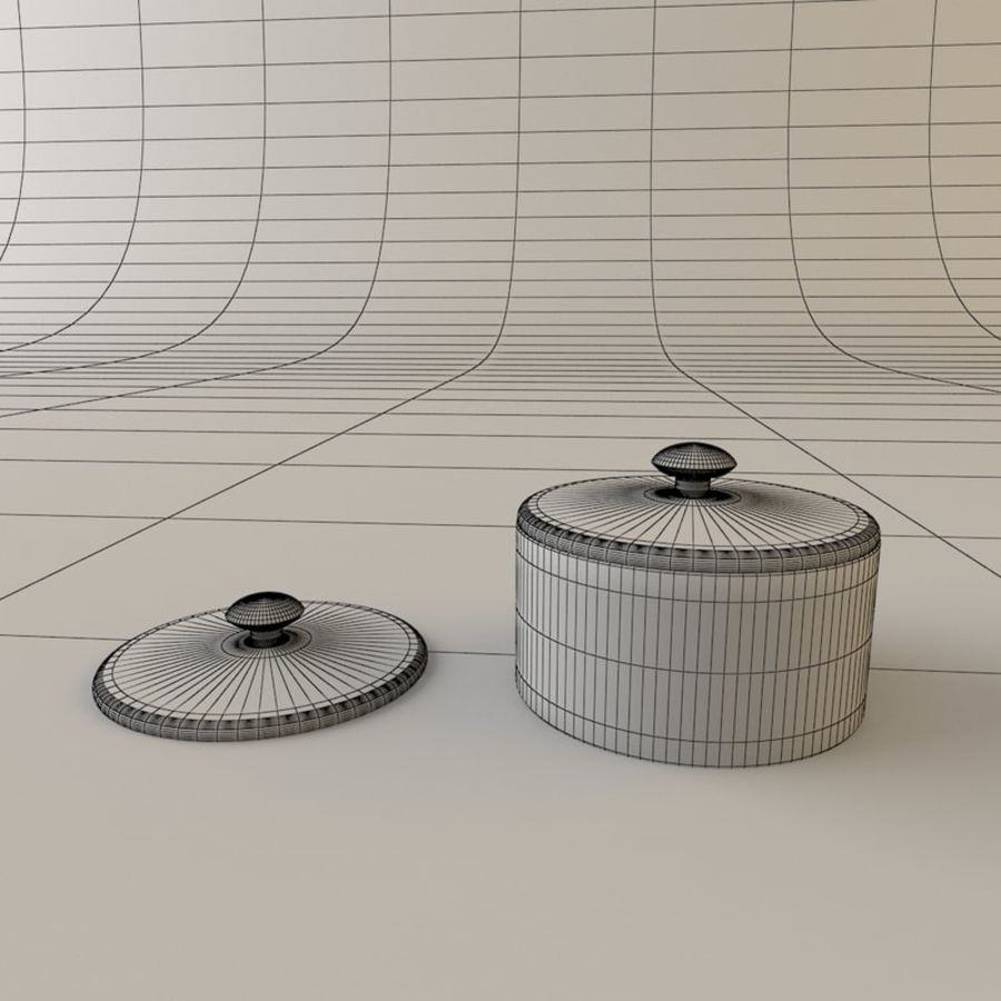 Tea Set with Teapot royalty-free 3d model - Preview no. 6