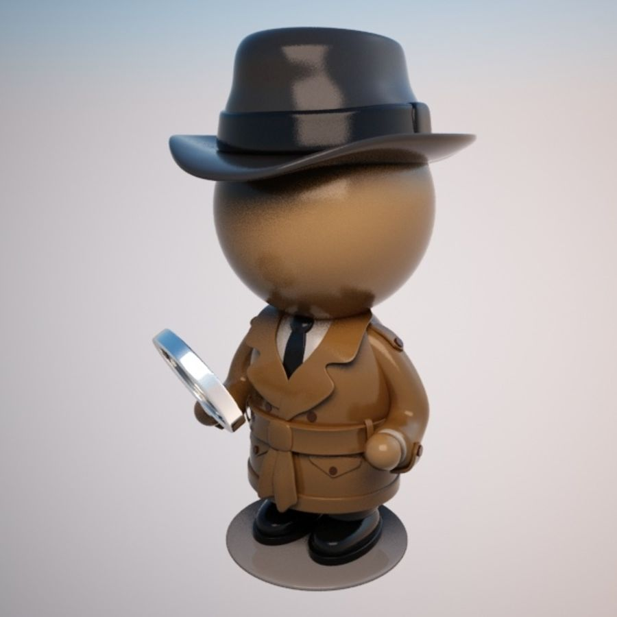 Cartoon Detective Character royalty-free 3d model - Preview no. 8