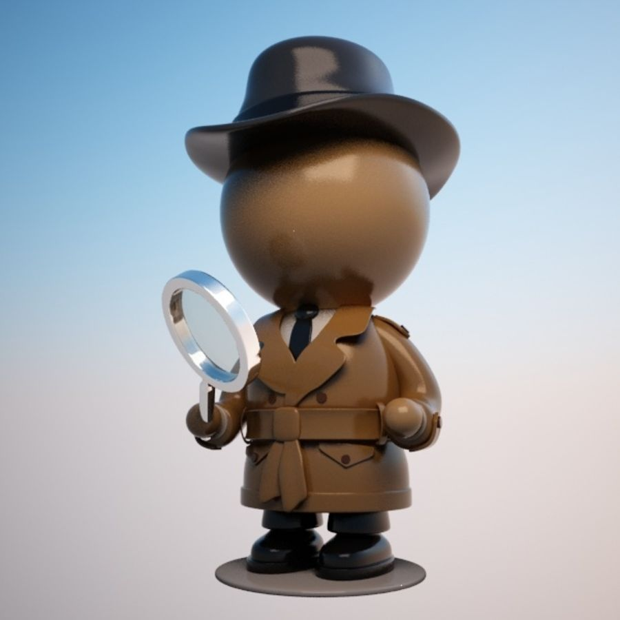 Cartoon Detective Character royalty-free 3d model - Preview no. 9