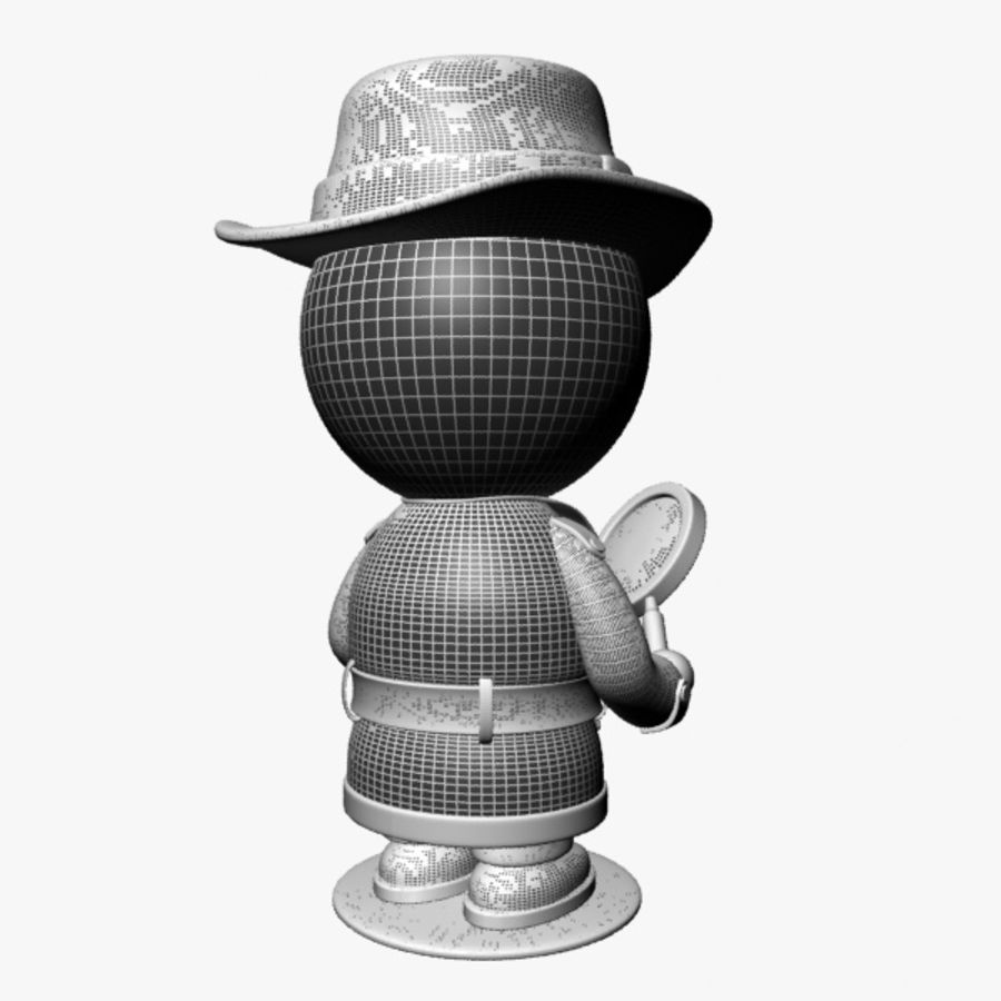 Cartoon Detective Character royalty-free 3d model - Preview no. 13
