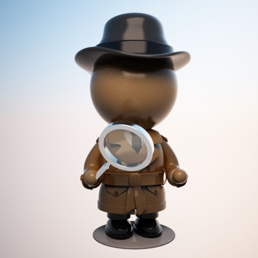 Cartoon Detective Character royalty-free 3d model - Preview no. 7