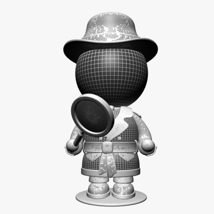Cartoon Detective Character royalty-free 3d model - Preview no. 12