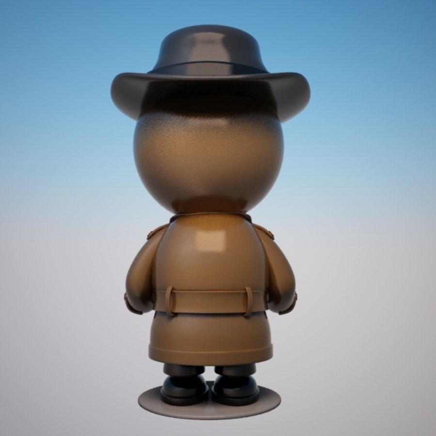 Cartoon Detective Character royalty-free 3d model - Preview no. 4