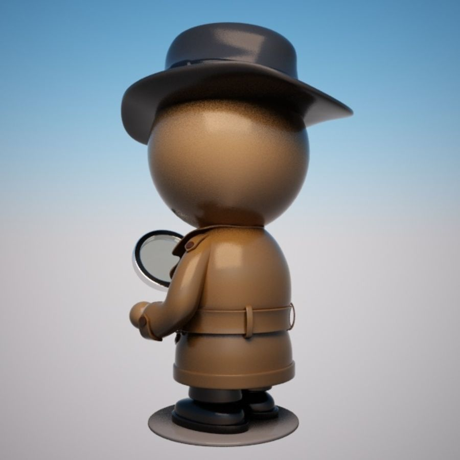 Cartoon Detective Character royalty-free 3d model - Preview no. 3