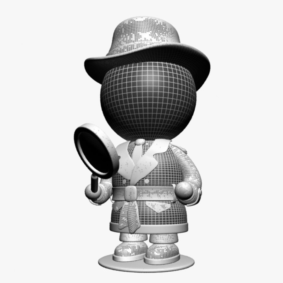 Cartoon Detective Character royalty-free 3d model - Preview no. 10