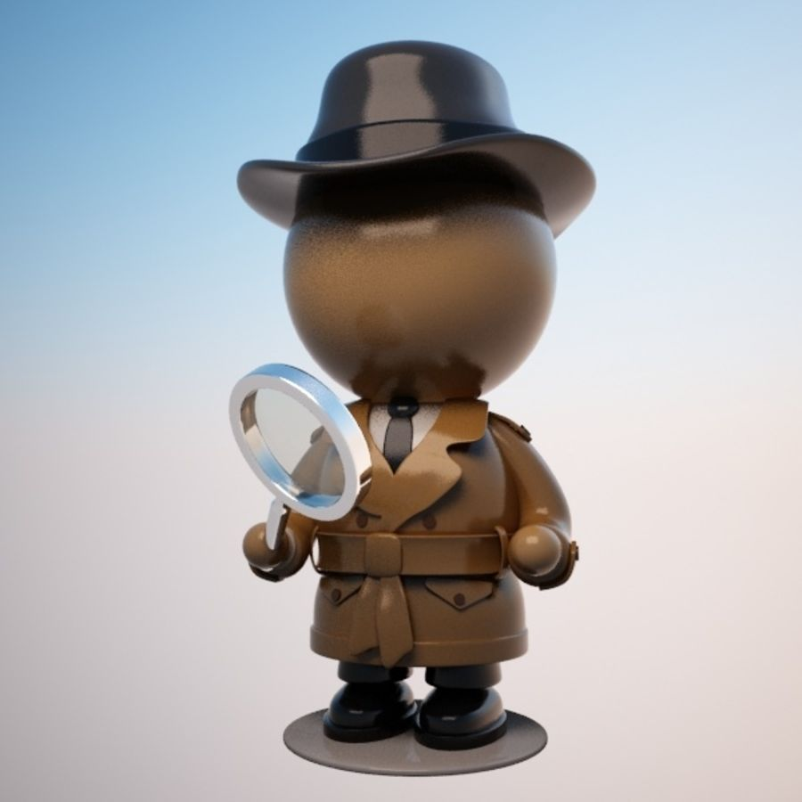 Cartoon Detective Character royalty-free 3d model - Preview no. 1