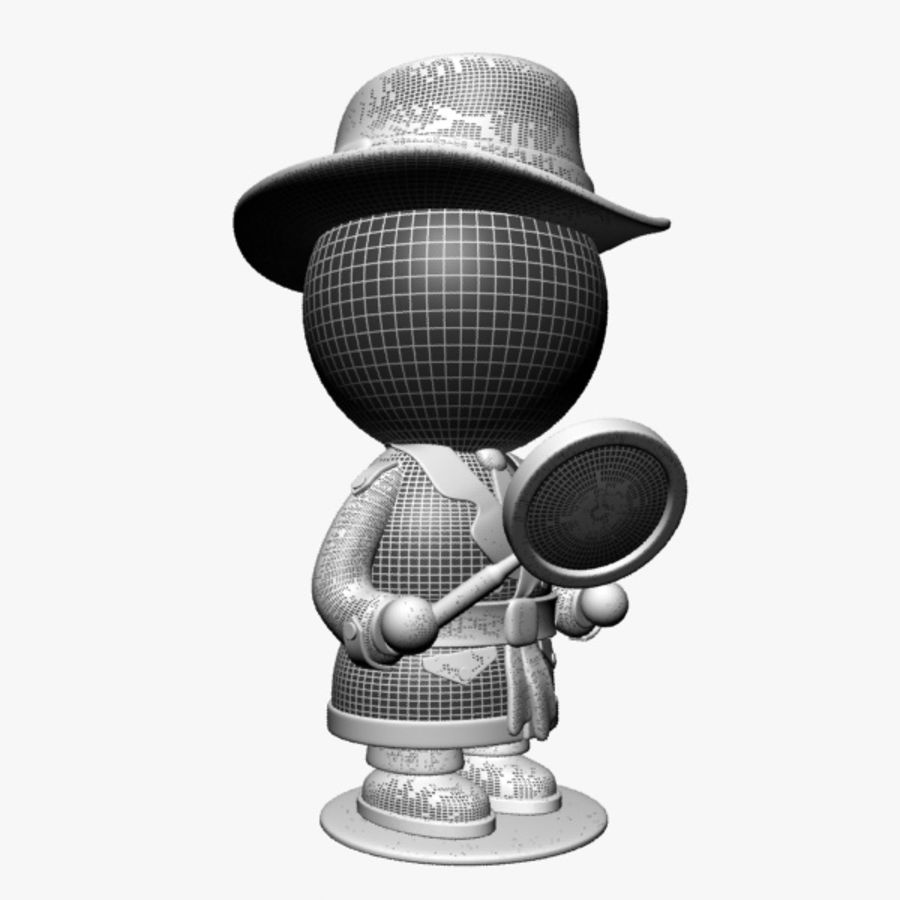 Cartoon Detective Character royalty-free 3d model - Preview no. 11