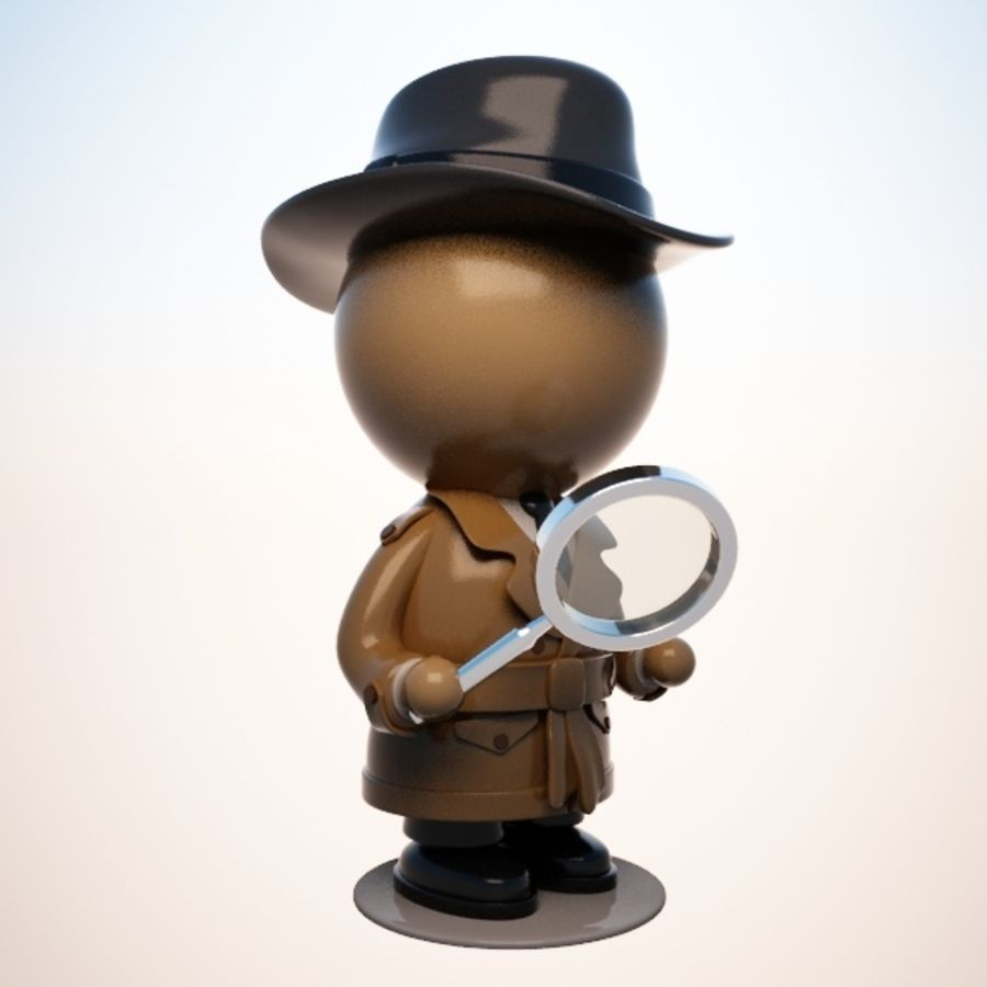 Cartoon Detective Character royalty-free 3d model - Preview no. 6