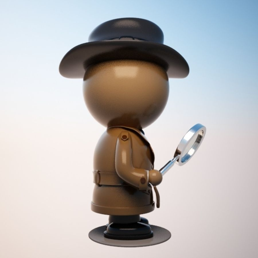 Cartoon Detective Character royalty-free 3d model - Preview no. 5