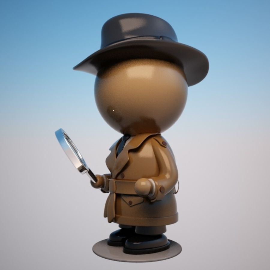 Cartoon Detective Character royalty-free 3d model - Preview no. 2