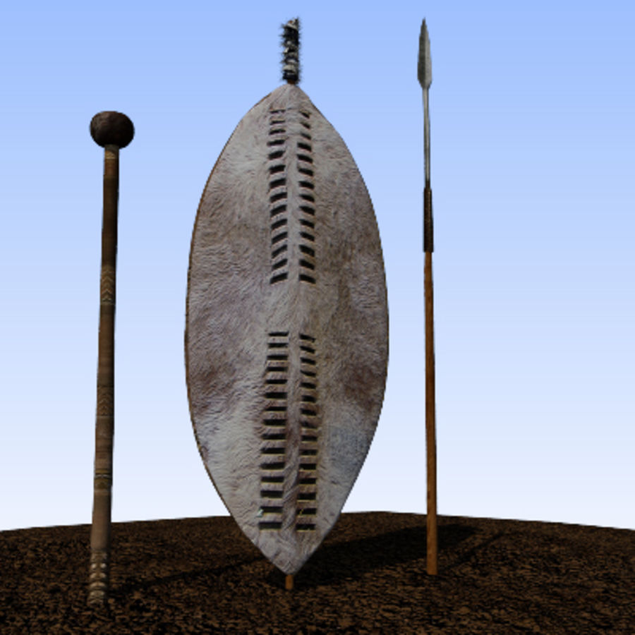 Zulu weapons royalty-free 3d model - Preview no. 6