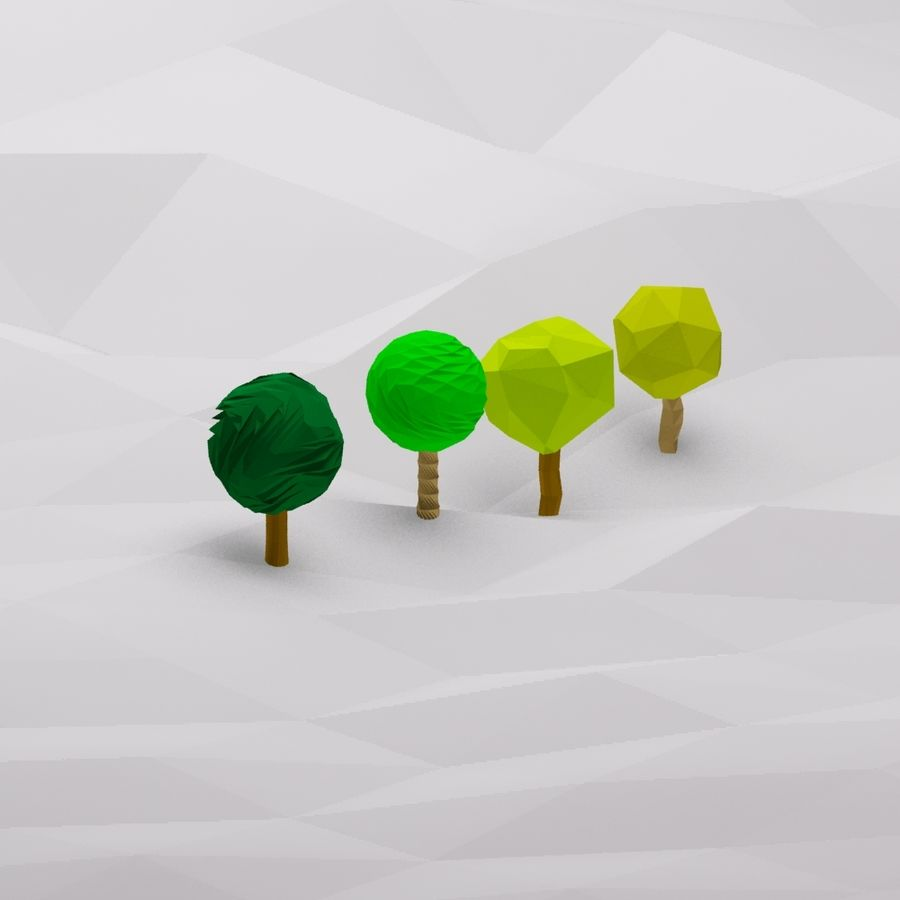 Cartoon low poly trees royalty-free 3d model - Preview no. 6