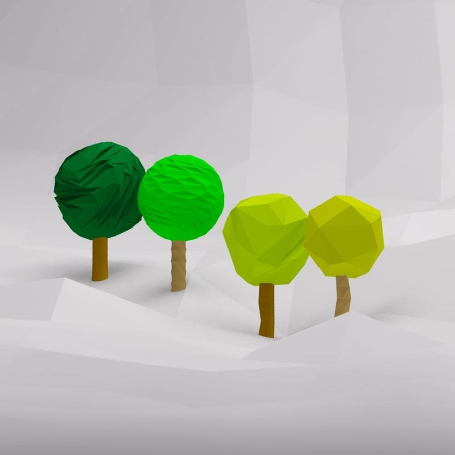 Cartoon low poly trees royalty-free 3d model - Preview no. 2