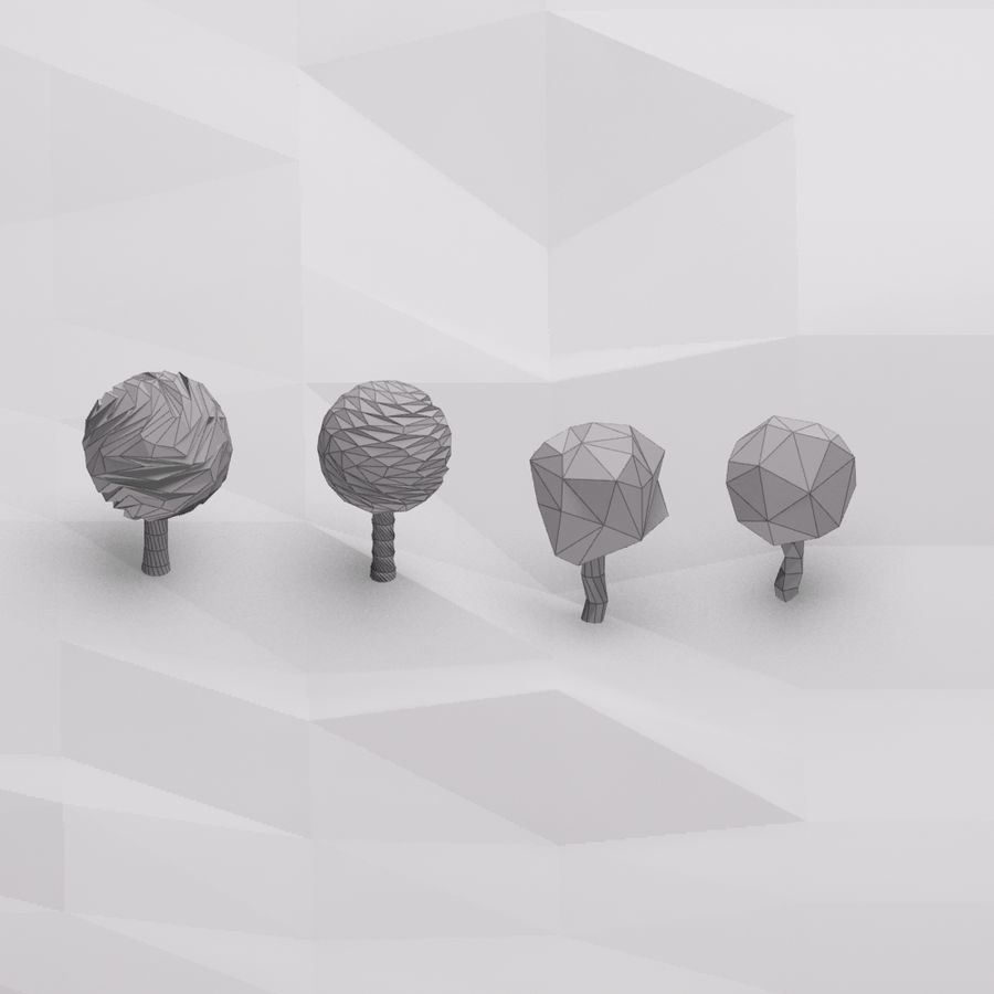 Cartoon low poly trees royalty-free 3d model - Preview no. 7