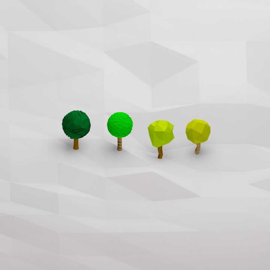 Cartoon low poly trees royalty-free 3d model - Preview no. 1