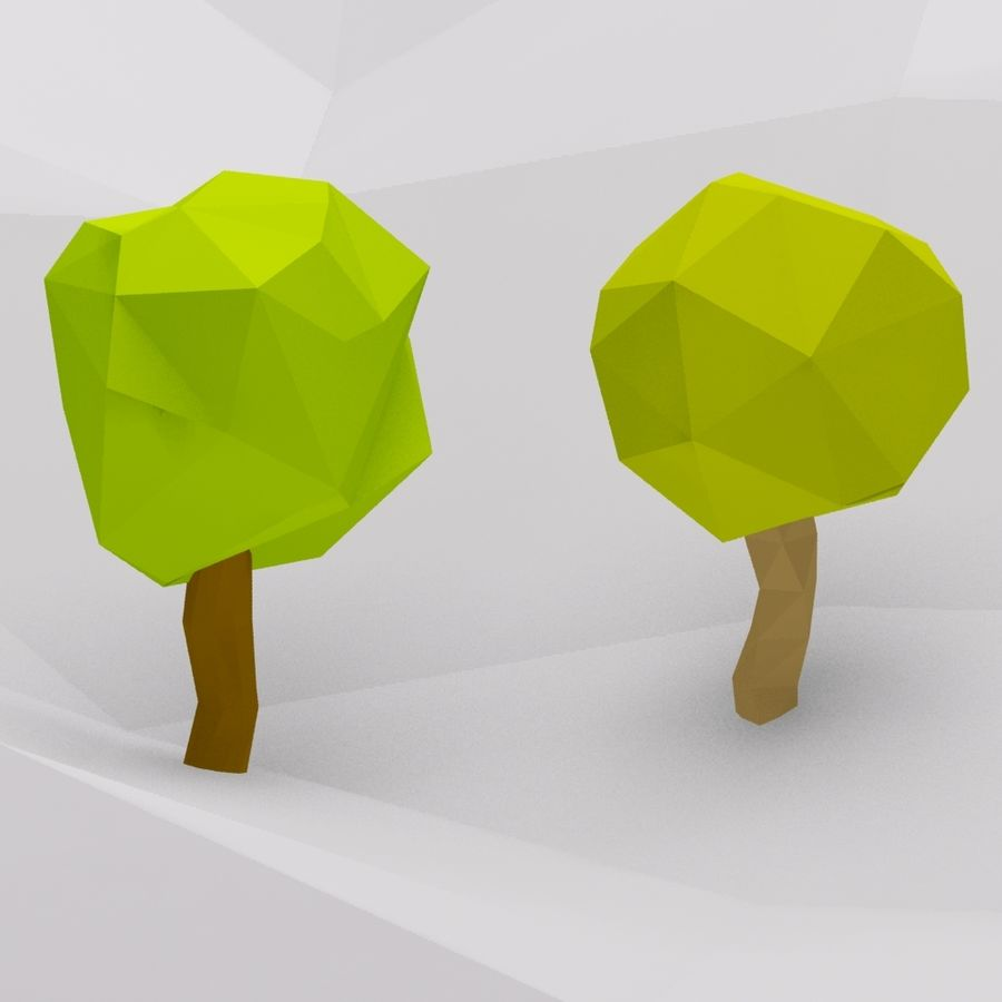 Cartoon low poly trees royalty-free 3d model - Preview no. 4