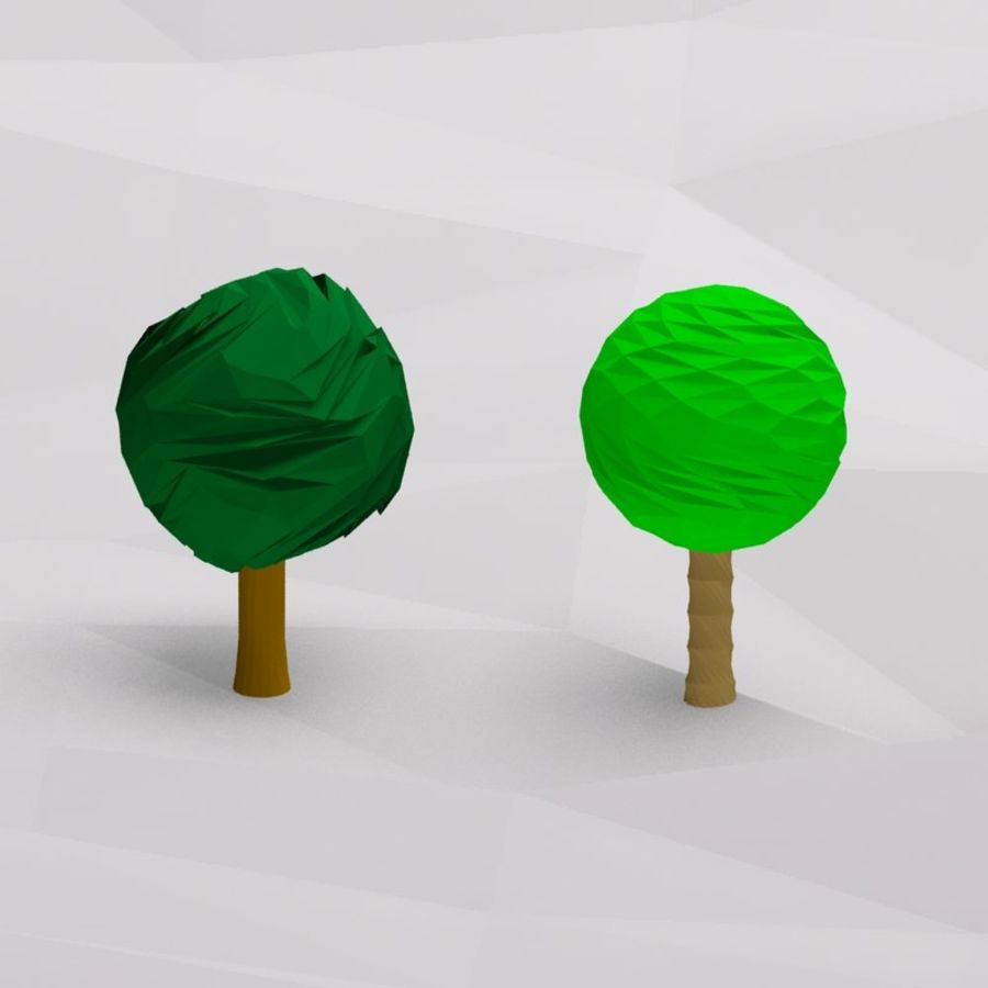 Cartoon low poly trees royalty-free 3d model - Preview no. 3