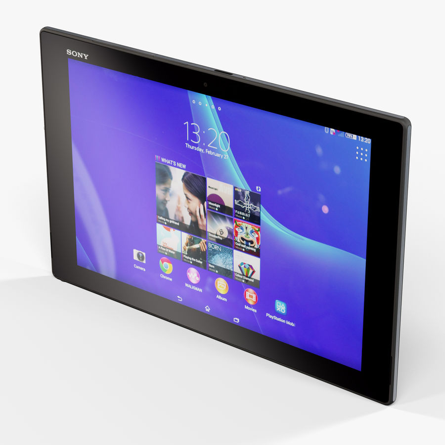 Sony Xperia Z2 Tablet Black royalty-free 3d model - Preview no. 4