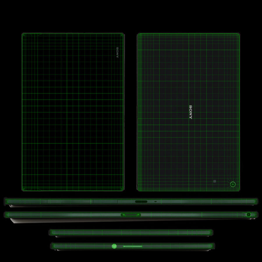 Sony Xperia Z2 Tablet Black royalty-free 3d model - Preview no. 13