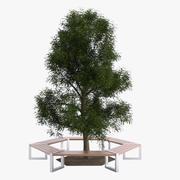 Hexagonal Tree Bench 3d model