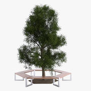 Hexagonal Tree Bench 3d model
