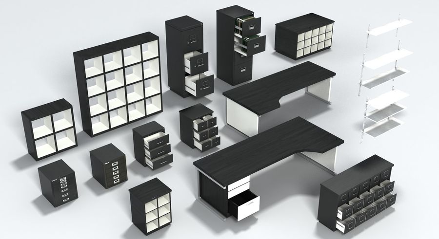 Office Furniture Collection royalty-free 3d model - Preview no. 33