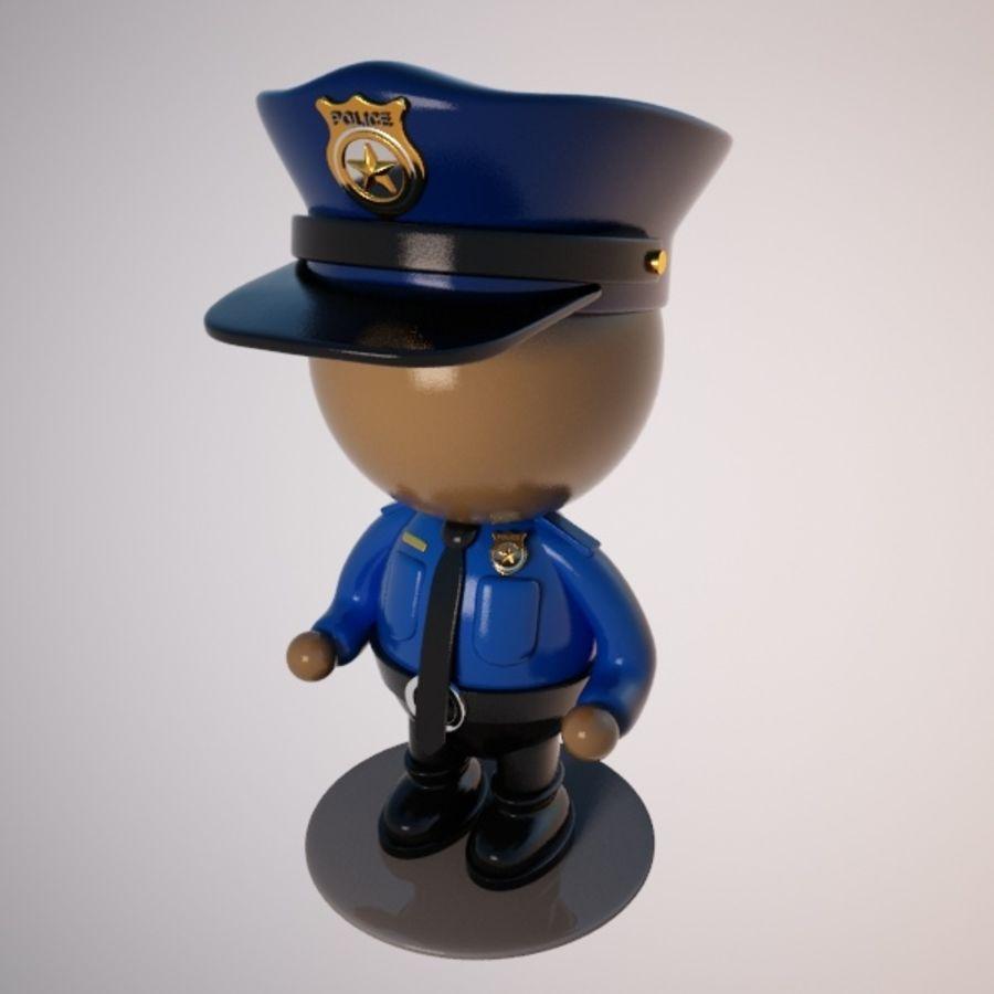 Personagem de policial de desenho animado royalty-free 3d model - Preview no. 8