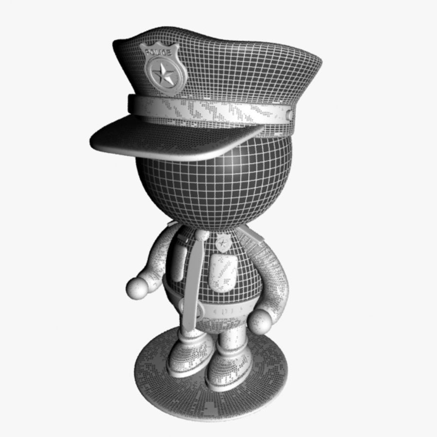 Personagem de policial de desenho animado royalty-free 3d model - Preview no. 9