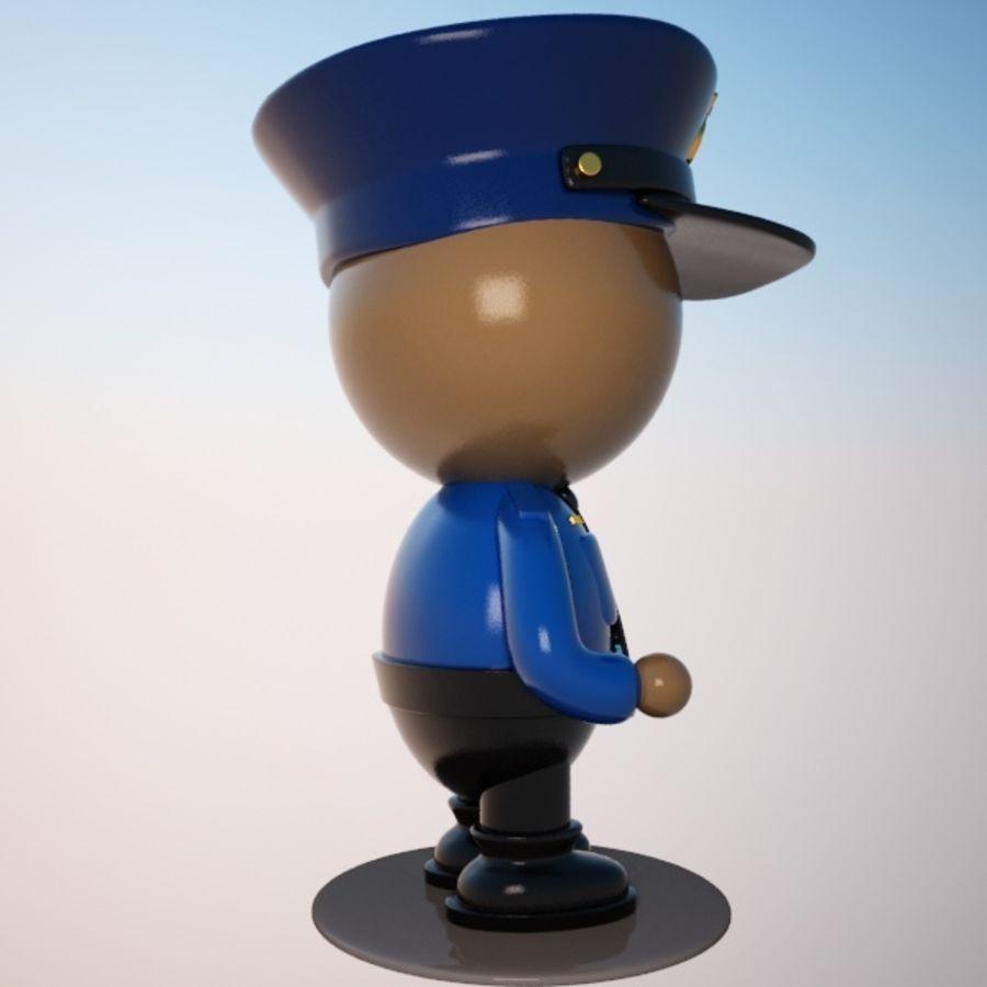 Personagem de policial de desenho animado royalty-free 3d model - Preview no. 5
