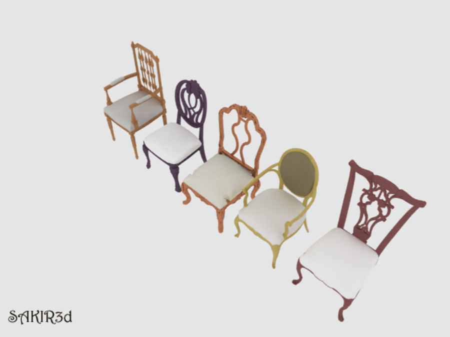Antique Chairs set royalty-free 3d model - Preview no. 3