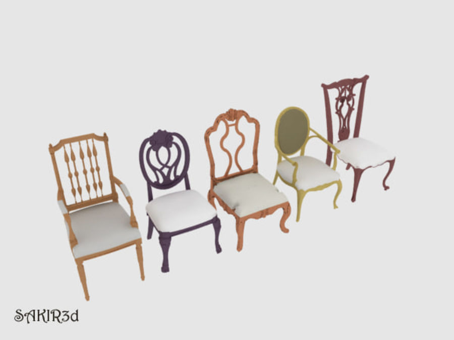 Antique Chairs set royalty-free 3d model - Preview no. 2