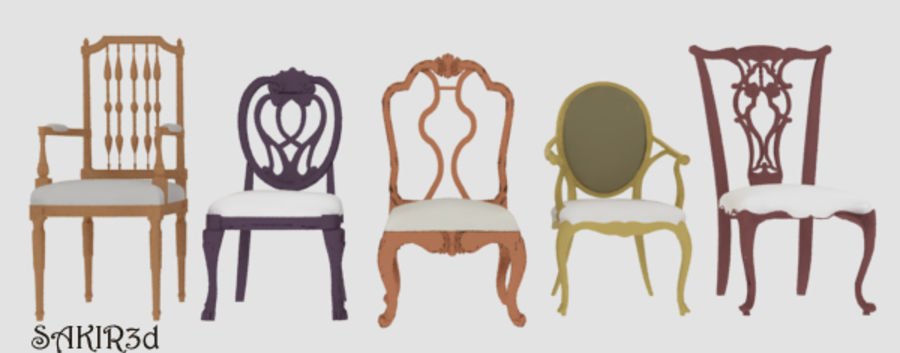 Antique Chairs set royalty-free 3d model - Preview no. 1
