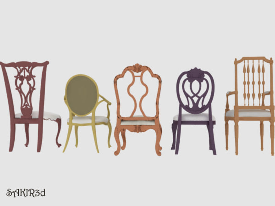 Antique Chairs set royalty-free 3d model - Preview no. 4