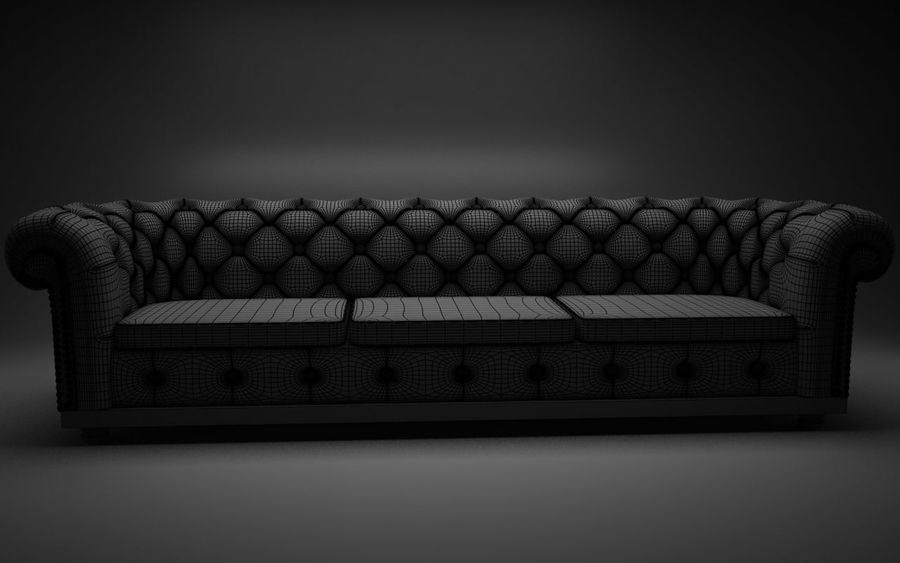 modern leather sofa royalty-free 3d model - Preview no. 2