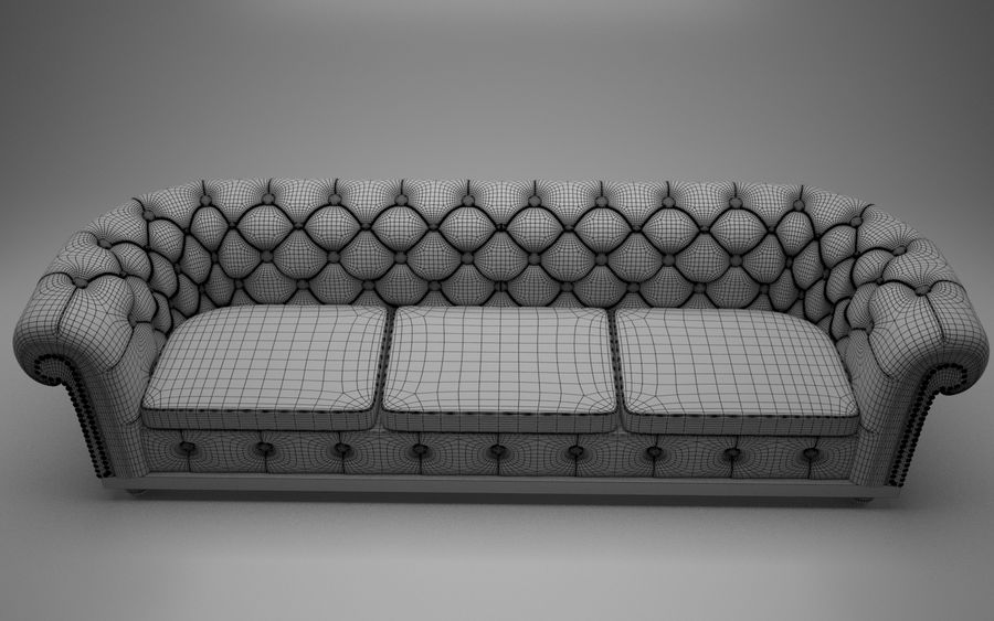 modern leather sofa royalty-free 3d model - Preview no. 3