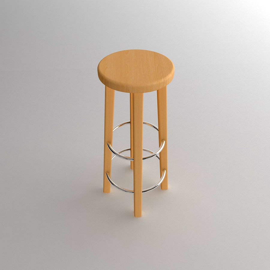 Stool Wood royalty-free 3d model - Preview no. 4