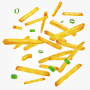 French Fries & Green Onions 3d model