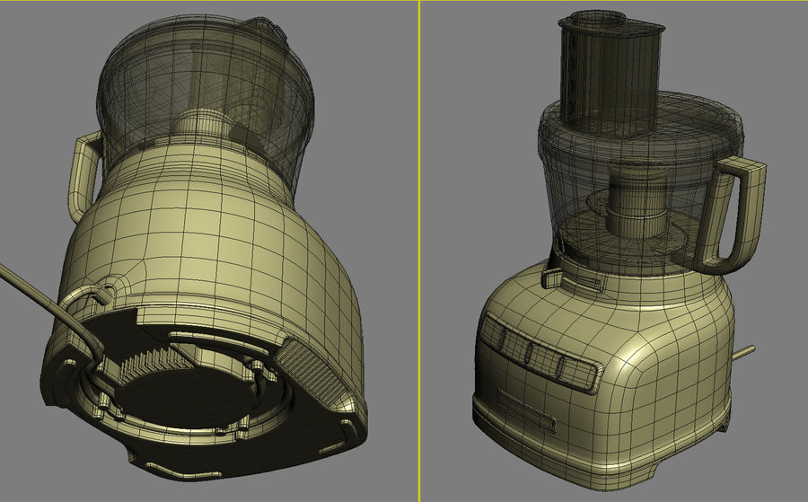 KitchenAid 7-Cup Food Processor royalty-free 3d model - Preview no. 7
