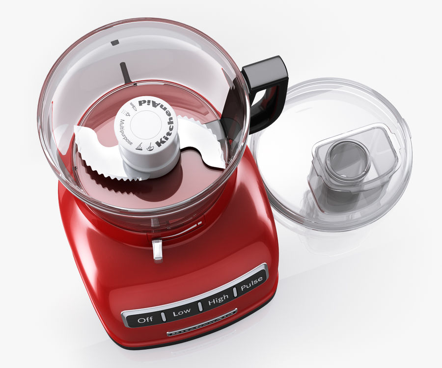 KitchenAid 7-Cup Food Processor royalty-free 3d model - Preview no. 4