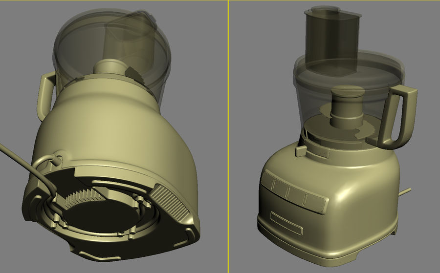 KitchenAid 7-Cup Food Processor royalty-free 3d model - Preview no. 6
