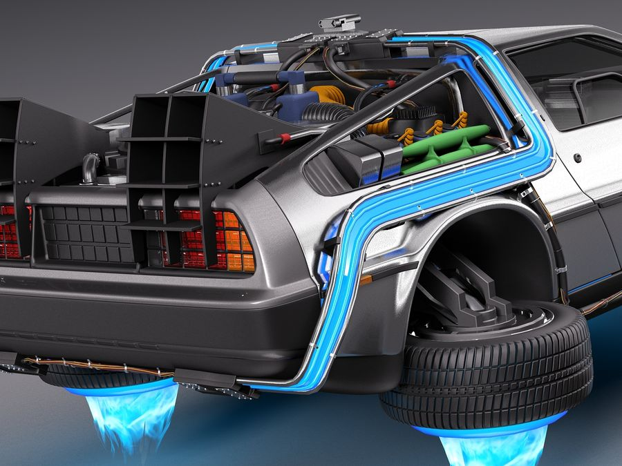 Back To The Future Delorean Episode 2 Future royalty-free 3d model - Preview no. 4