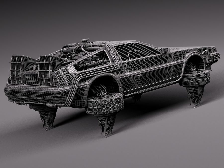 Back To The Future Delorean Episode 2 Future royalty-free 3d model - Preview no. 16