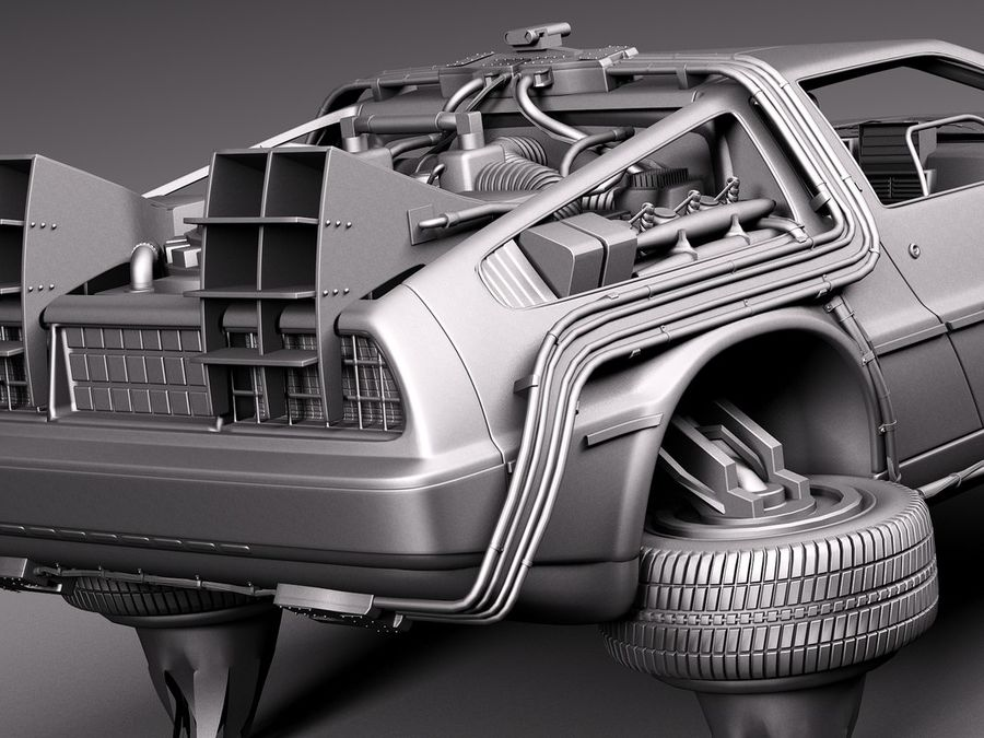 Back To The Future Delorean Episode 2 Future royalty-free 3d model - Preview no. 13