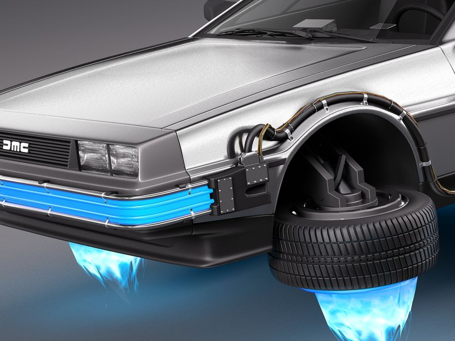 Back To The Future Delorean Episode 2 Future royalty-free 3d model - Preview no. 3